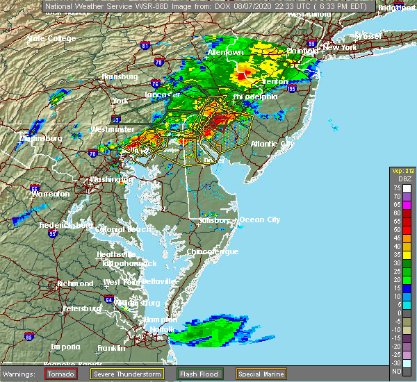 Radar Image for Severe Thunderstorms near Kennedyville, MD at 8/7/2020 6:34 PM EDT