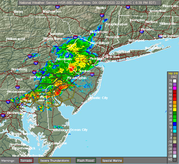 Radar Image for Severe Thunderstorms near Newtown, PA at 8/7/2020 6:42 PM EDT