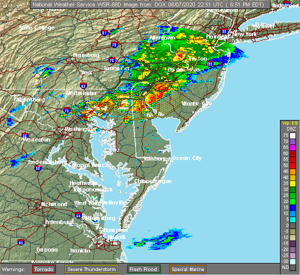 Radar Image for Severe Thunderstorms near Turnersville, NJ at 8/7/2020 7:00 PM EDT