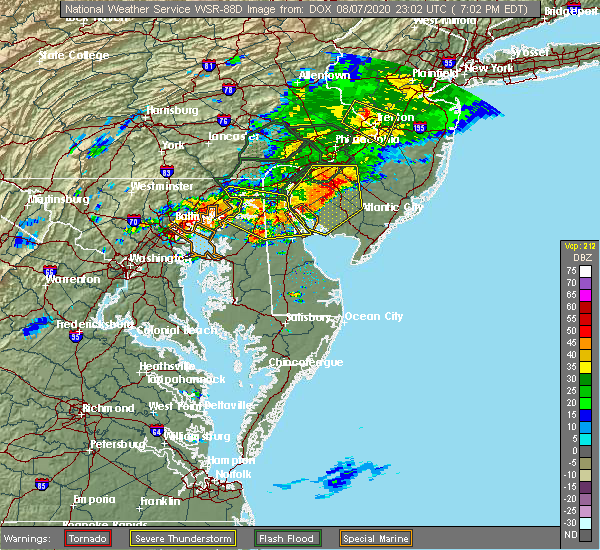 Radar Image for Severe Thunderstorms near Kennedyville, MD at 8/7/2020 7:07 PM EDT