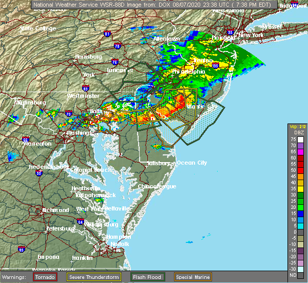 Radar Image for Severe Thunderstorms near Kennedyville, MD at 8/7/2020 7:40 PM EDT