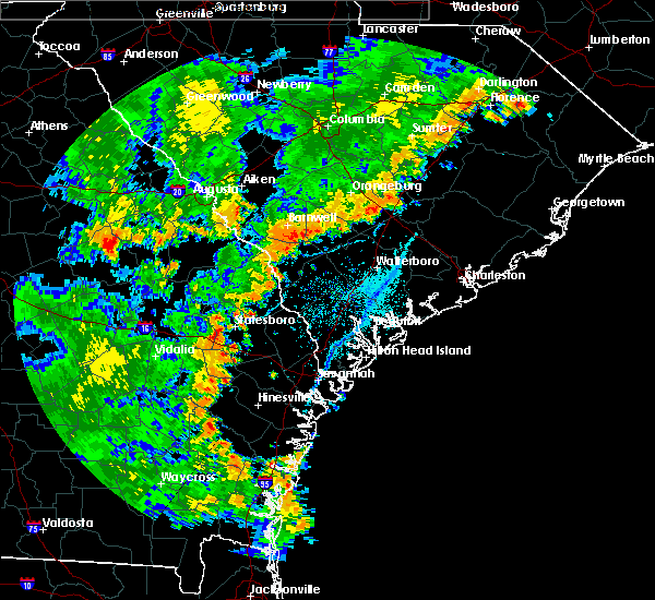 Radar Image for Severe Thunderstorms near Yemassee, SC at 7/2/2015 6:25 PM EDT