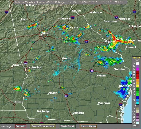 Radar Image for Severe Thunderstorms near Washington, GA at 8/7/2020 7:56 PM EDT