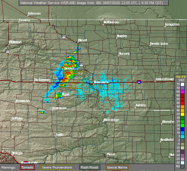 Radar Image for Severe Thunderstorms near Center, ND at 8/7/2020 6:58 PM CDT