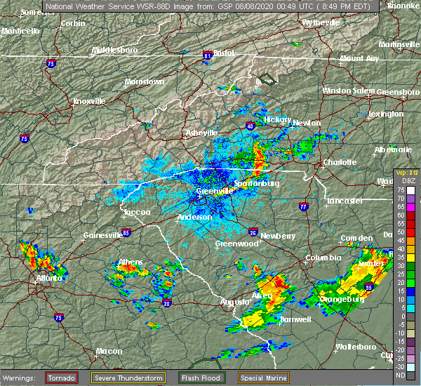 Radar Image for Severe Thunderstorms near Mooresboro, NC at 8/7/2020 8:54 PM EDT