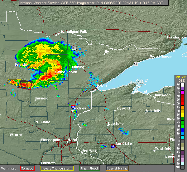 Radar Image for Severe Thunderstorms near Breezy Point, MN at 8/7/2020 9:19 PM CDT