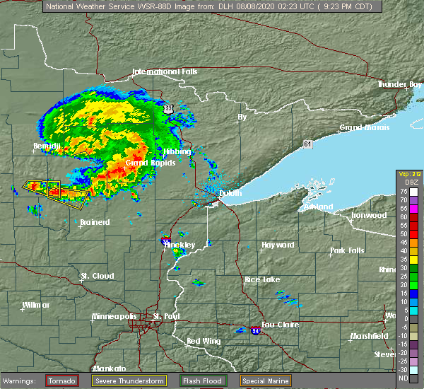 Radar Image for Severe Thunderstorms near Breezy Point, MN at 8/7/2020 9:31 PM CDT