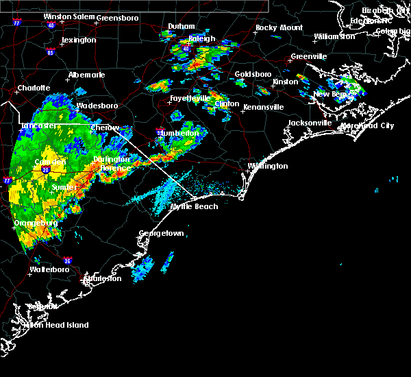 Radar Image for Severe Thunderstorms near Orrum, NC at 7/2/2015 6:31 PM EDT