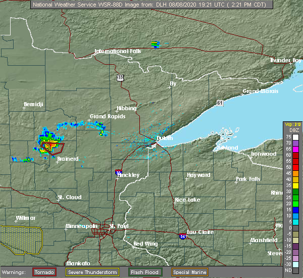 Radar Image for Severe Thunderstorms near Pequot Lakes, MN at 8/8/2020 2:27 PM CDT