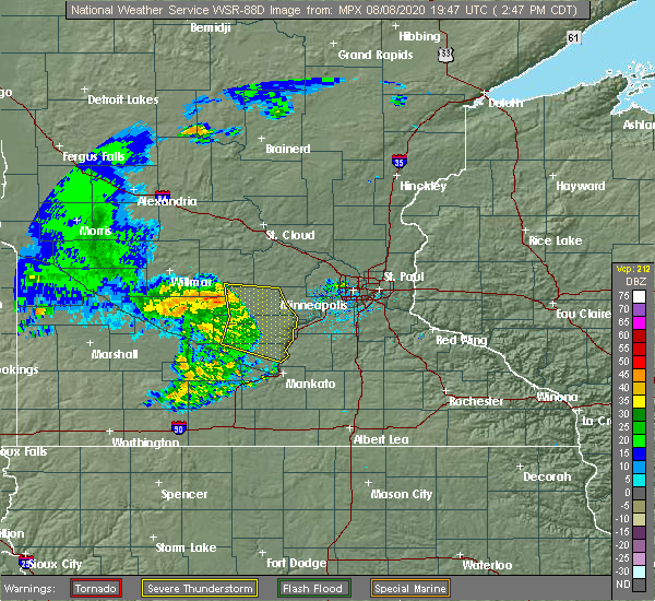 Radar Image for Severe Thunderstorms near Olivia, MN at 8/8/2020 2:51 PM CDT