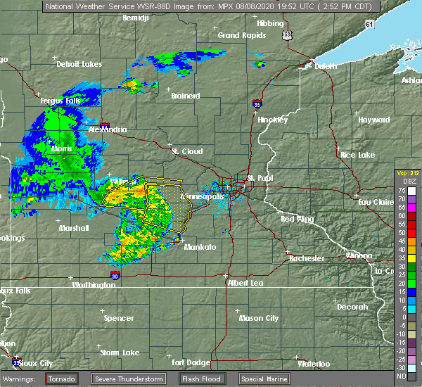 Radar Image for Severe Thunderstorms near Olivia, MN at 8/8/2020 3:00 PM CDT