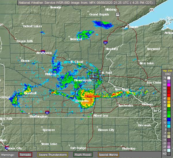 Radar Image for Severe Thunderstorms near Ellendale, MN at 8/8/2020 4:31 PM CDT