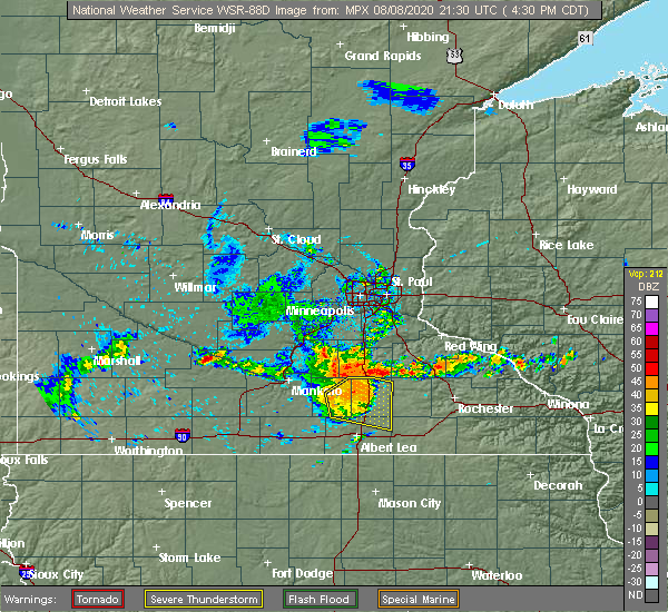 Radar Image for Severe Thunderstorms near Dodge Center, MN at 8/8/2020 4:38 PM CDT