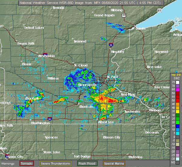 Radar Image for Severe Thunderstorms near Dodge Center, MN at 8/8/2020 5:03 PM CDT