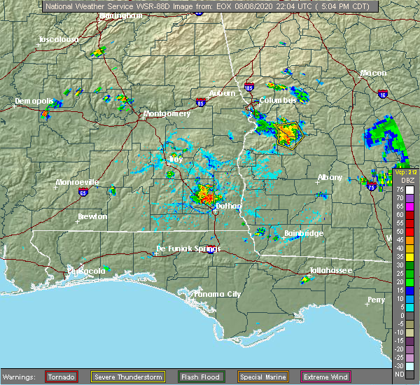 Radar Image for Severe Thunderstorms near Richland, GA at 8/8/2020 6:09 PM EDT