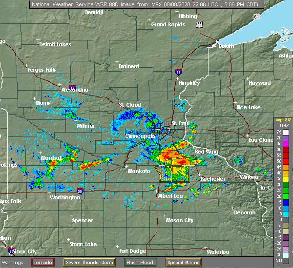 Radar Image for Severe Thunderstorms near Ellendale, MN at 8/8/2020 5:10 PM CDT