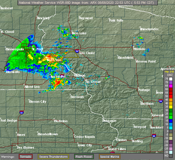 Radar Image for Severe Thunderstorms near Durand, WI at 8/8/2020 5:56 PM CDT