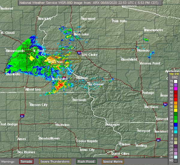 Radar Image for Severe Thunderstorms near Nelson, WI at 8/8/2020 6:01 PM CDT