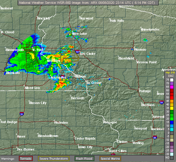 Radar Image for Severe Thunderstorms near Durand, WI at 8/8/2020 6:15 PM CDT