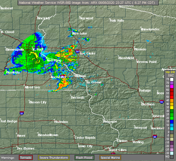 Radar Image for Severe Thunderstorms near Durand, WI at 8/8/2020 6:29 PM CDT