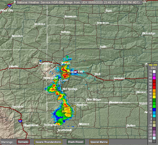 Radar Image for Severe Thunderstorms near Colonial Pine Hills, SD at 8/8/2020 5:52 PM MDT