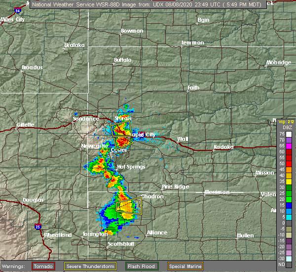 Radar Image for Severe Thunderstorms near Chadron, NE at 8/8/2020 5:52 PM MDT