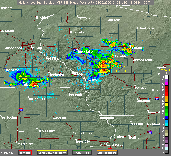 Radar Image for Severe Thunderstorms near Tomah, WI at 8/8/2020 8:28 PM CDT