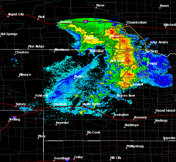 Radar Image for Severe Thunderstorms near Platte, SD at 8/8/2020 11:41 PM CDT