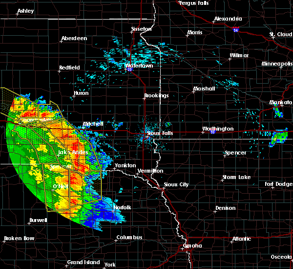 Radar Image for Severe Thunderstorms near Fedora, SD at 8/9/2020 12:50 AM CDT