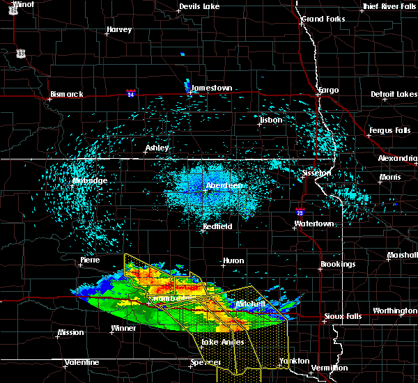 Radar Image for Severe Thunderstorms near Huron, SD at 8/9/2020 12:59 AM CDT