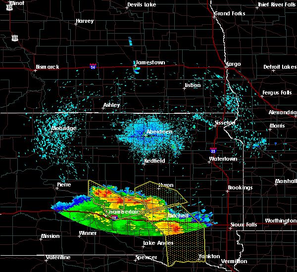 Radar Image for Severe Thunderstorms near Wessington, SD at 8/9/2020 1:10 AM CDT