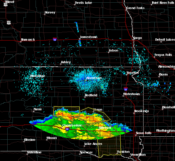 Radar Image for Severe Thunderstorms near Wessington, SD at 8/9/2020 1:21 AM CDT