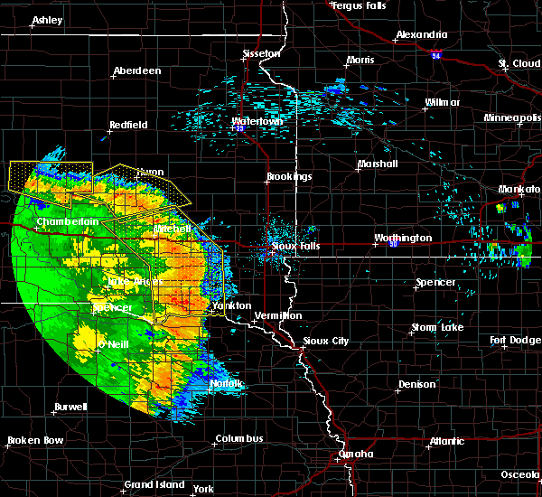 Radar Image for Severe Thunderstorms near Fedora, SD at 8/9/2020 1:23 AM CDT