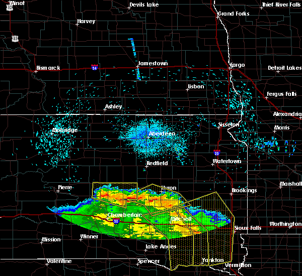 Radar Image for Severe Thunderstorms near Huron, SD at 8/9/2020 1:26 AM CDT