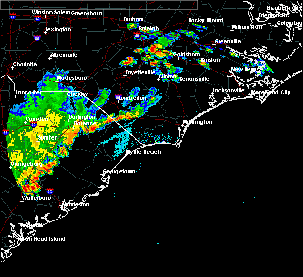 Radar Image for Severe Thunderstorms near Fair Bluff, NC at 7/2/2015 6:50 PM EDT