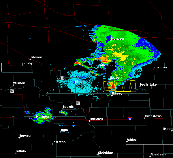 Radar Image for Severe Thunderstorms near Fort Totten, ND at 8/9/2020 6:28 AM CDT