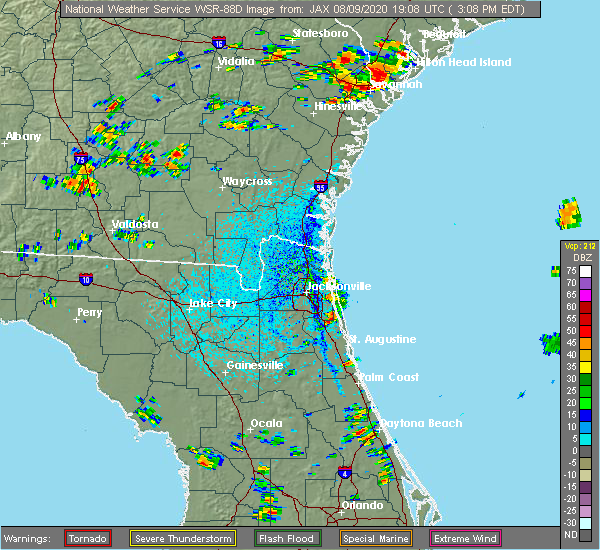 Radar Image for Severe Thunderstorms near Palm Valley, FL at 8/9/2020 3:12 PM EDT