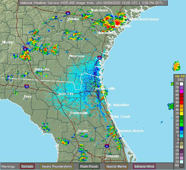 Radar Image for Severe Thunderstorms near Jacksonville, FL at 8/9/2020 3:12 PM EDT