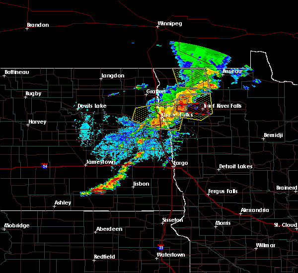 Radar Image for Severe Thunderstorms near East Grand Forks, MN at 8/9/2020 2:13 PM CDT