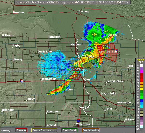 Radar Image for Severe Thunderstorms near East Grand Forks, MN at 8/9/2020 2:48 PM CDT