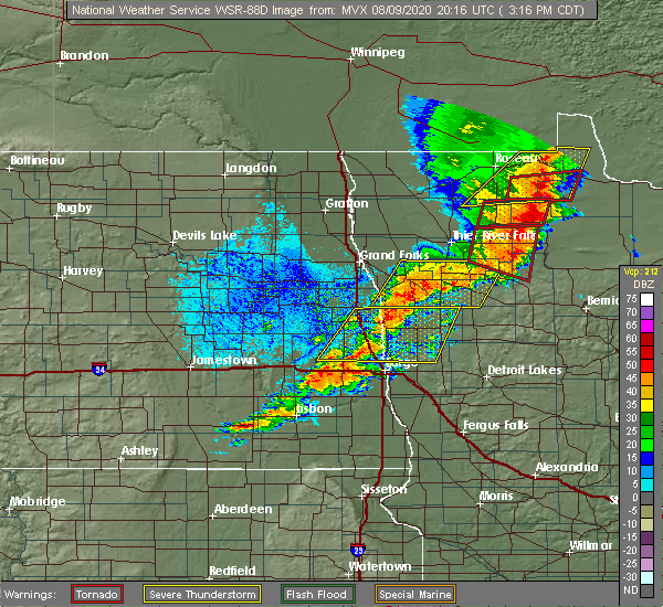 Radar Image for Severe Thunderstorms near Kindred, ND at 8/9/2020 3:23 PM CDT