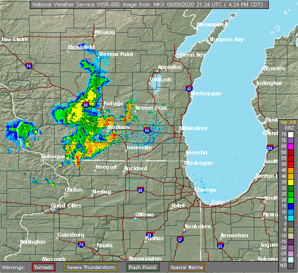 Radar Image for Severe Thunderstorms near Madison, WI at 8/9/2020 4:26 PM CDT