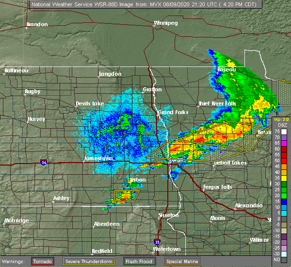 Radar Image for Severe Thunderstorms near White Earth, MN at 8/9/2020 4:27 PM CDT