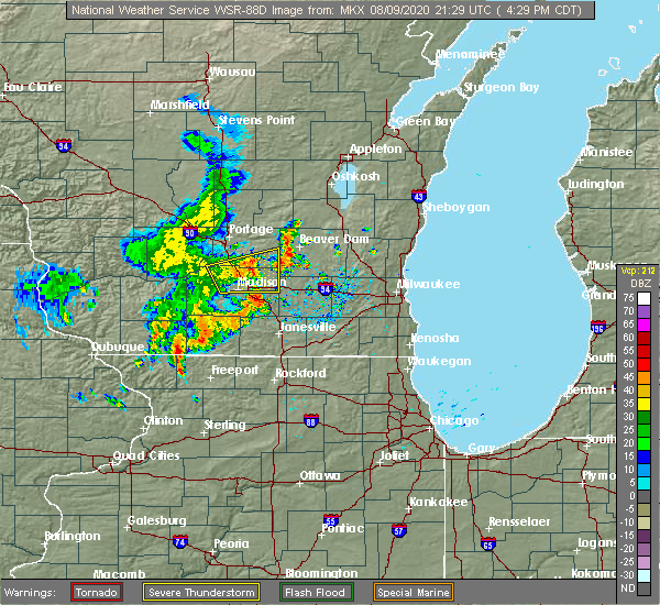 Radar Image for Severe Thunderstorms near Madison, WI at 8/9/2020 4:38 PM CDT