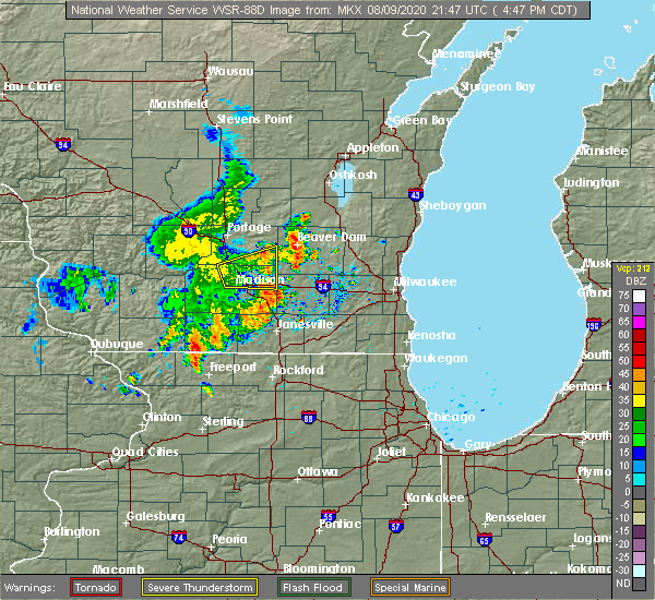 Radar Image for Severe Thunderstorms near Madison, WI at 8/9/2020 4:52 PM CDT