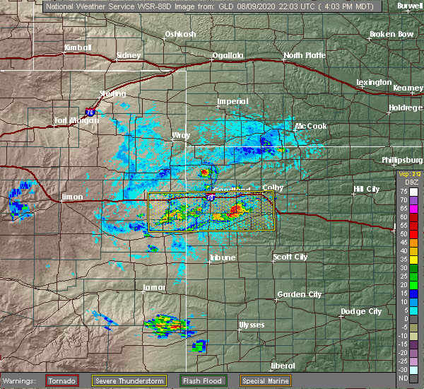 Radar Image for Severe Thunderstorms near Goodland, KS at 8/9/2020 4:05 PM MDT