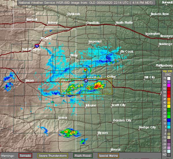Radar Image for Severe Thunderstorms near Goodland, KS at 8/9/2020 4:19 PM MDT