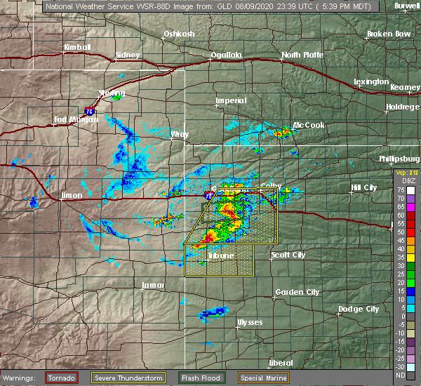 Radar Image for Severe Thunderstorms near Winona, KS at 8/9/2020 6:48 PM CDT
