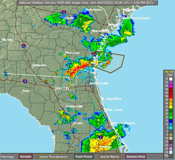 Radar Image for Severe Thunderstorms near Woodbine, GA at 8/9/2020 8:15 PM EDT