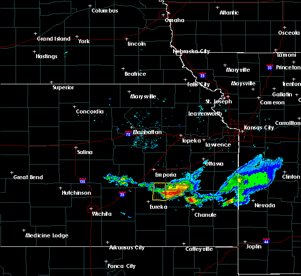 Radar Image for Severe Thunderstorms near Hamilton, KS at 8/9/2020 7:28 PM CDT
